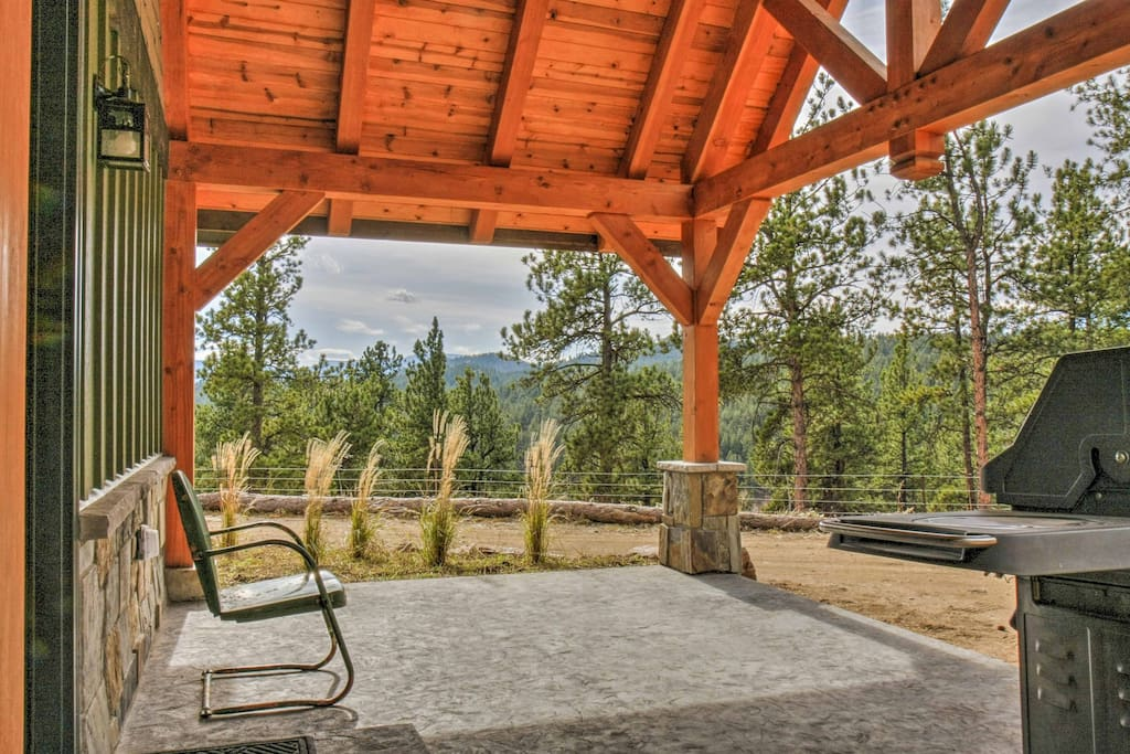 You'll have incredible views of the Rocky Mountains right from the private patio, with 12.6 acres of forest to explore!