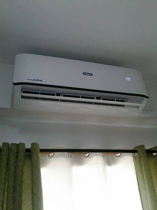 Split type AC for a cooler and comfortable stay. covered the whole unit