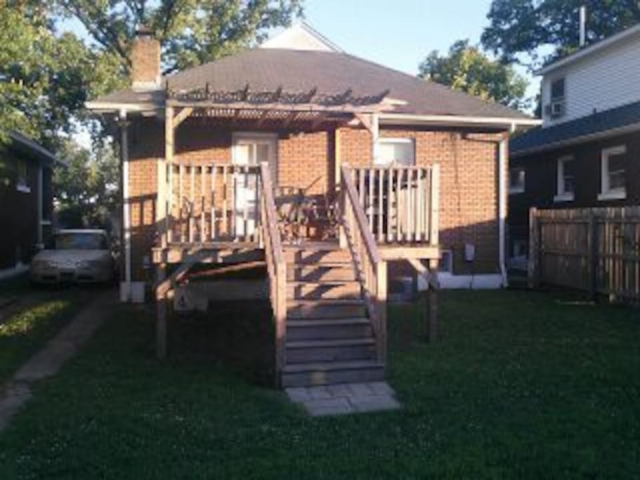 Back yard and deck.