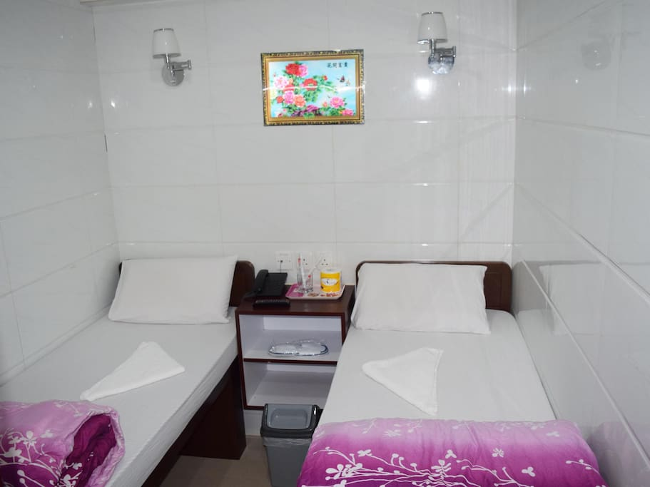 Twin Bed with  Toilet and Shower.