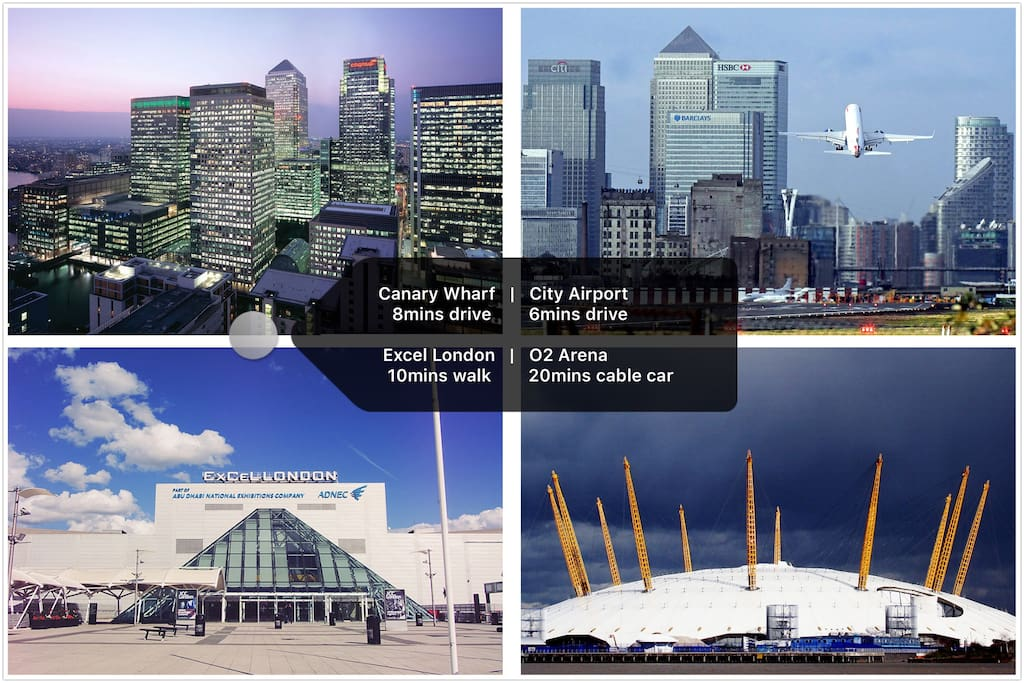 Location - 8mins drive to Canary Wharf, 6mins to City Airport, 10mins walk to London Excel and 20mins cable car to O2 Arena