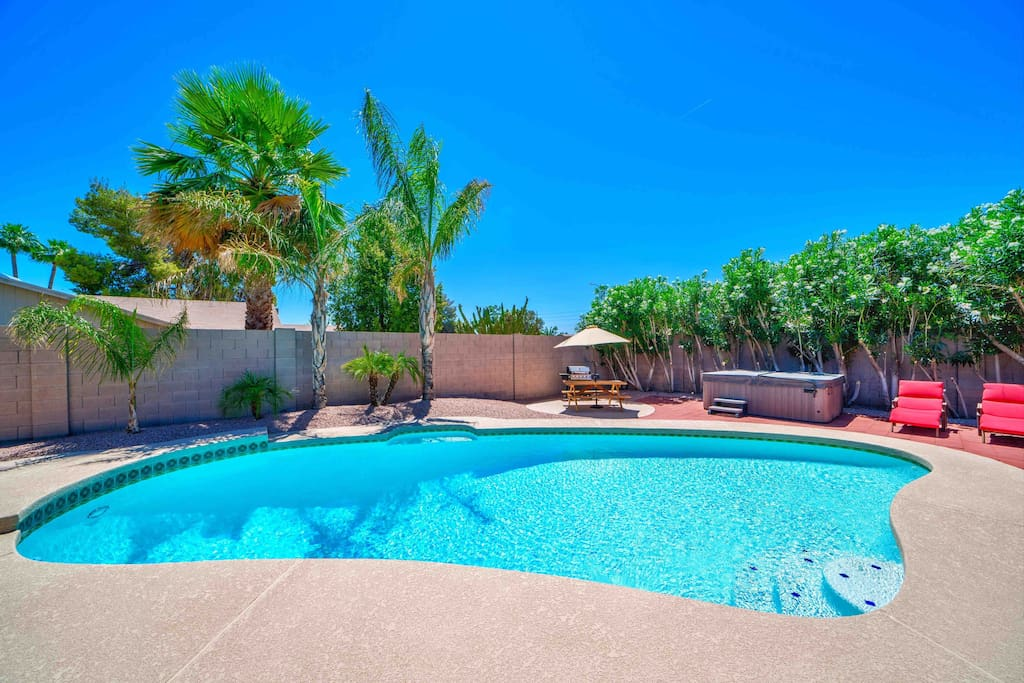 Large pool with shallow end for kids. One of the best features of the home. Can be heated for an additional cost.
