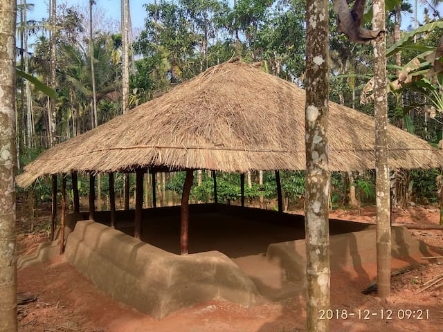 The Hut : Constructed using clay, wood and grass, this is a multipurpose community space