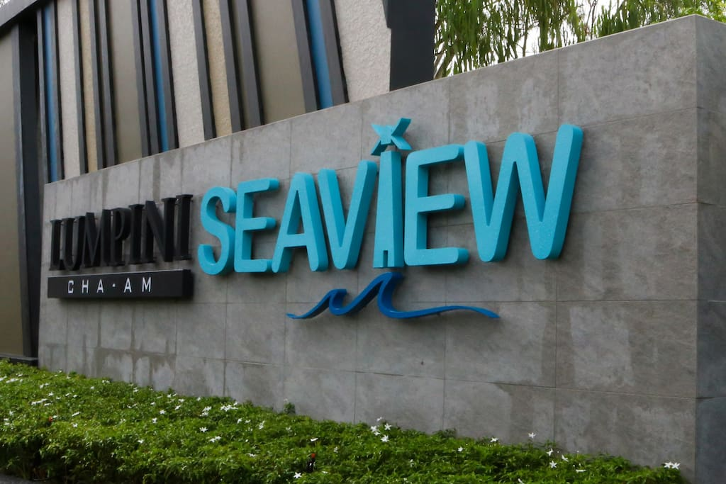 Lumpini Seaview Cha-am Sign at the front of Apartment