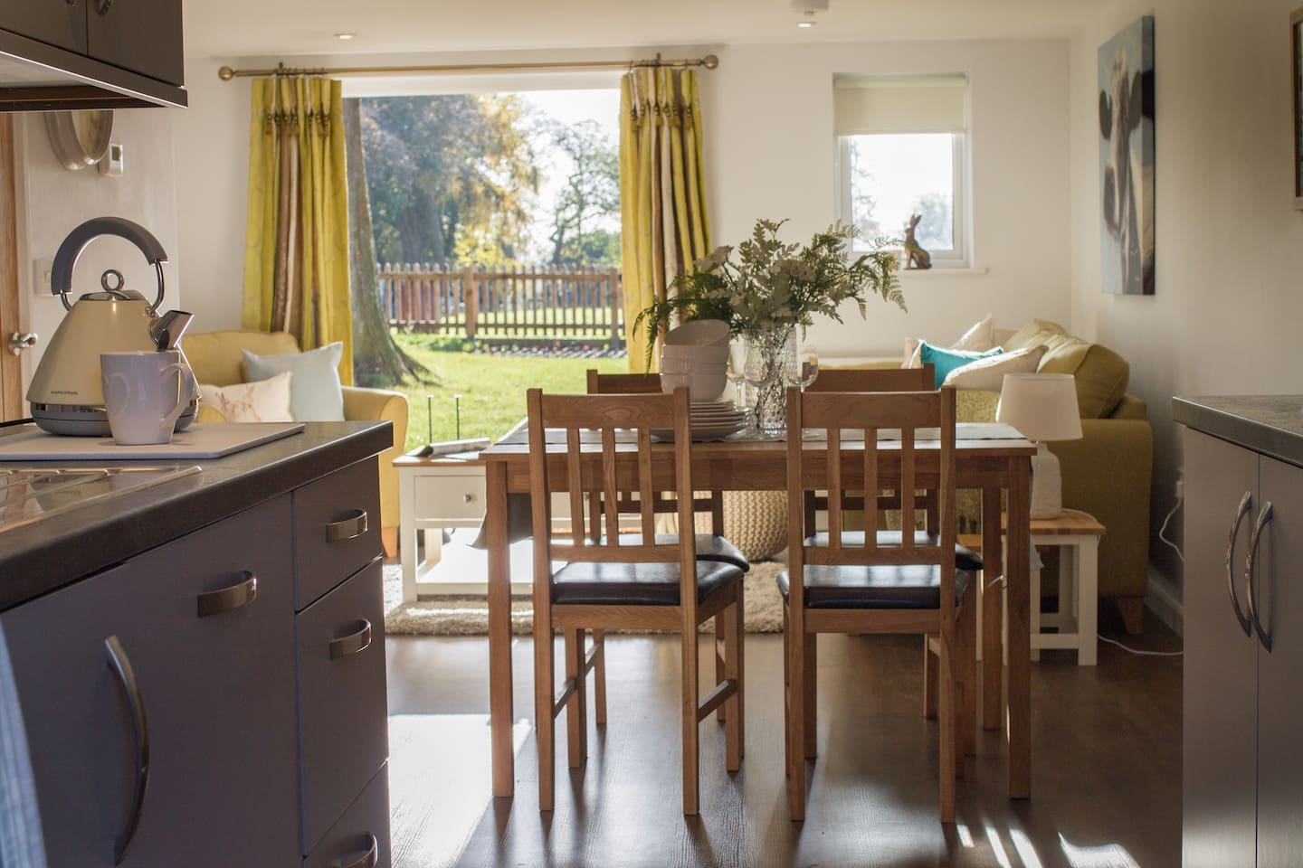 Open plan living space at Pasture View with french doors opening onto your South facing garden