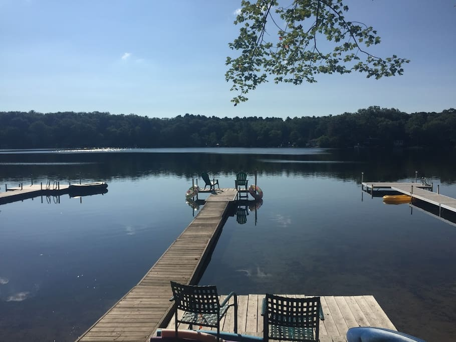 View of the private dock and lake from the shore.
