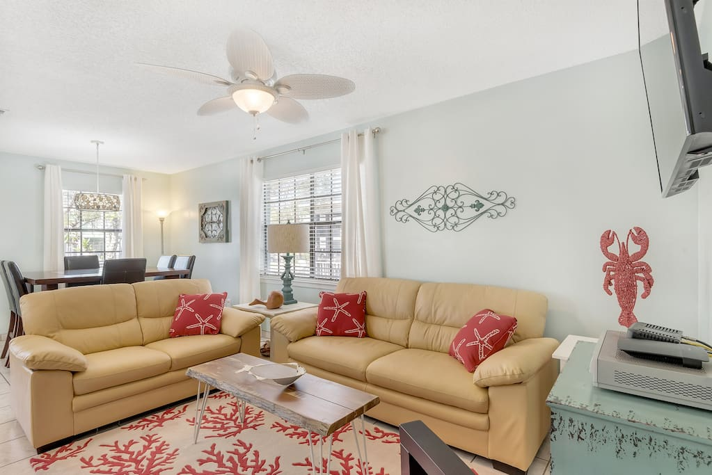 Nice, comfy living room in front of the house.