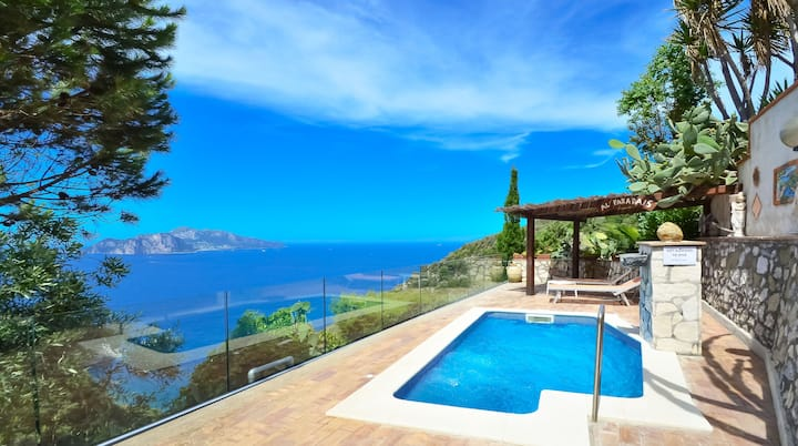 Private villa with panoramic sea views and pool