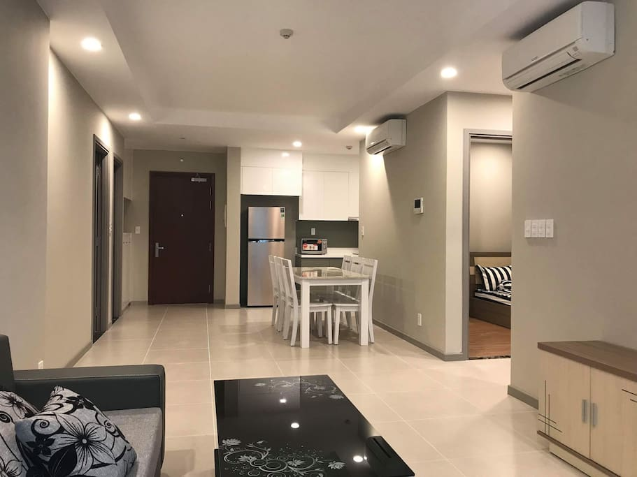 Living and dining room with air conditioners