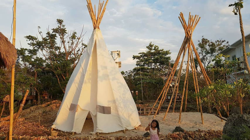 Lakota inspired Tipi with sweat lodge