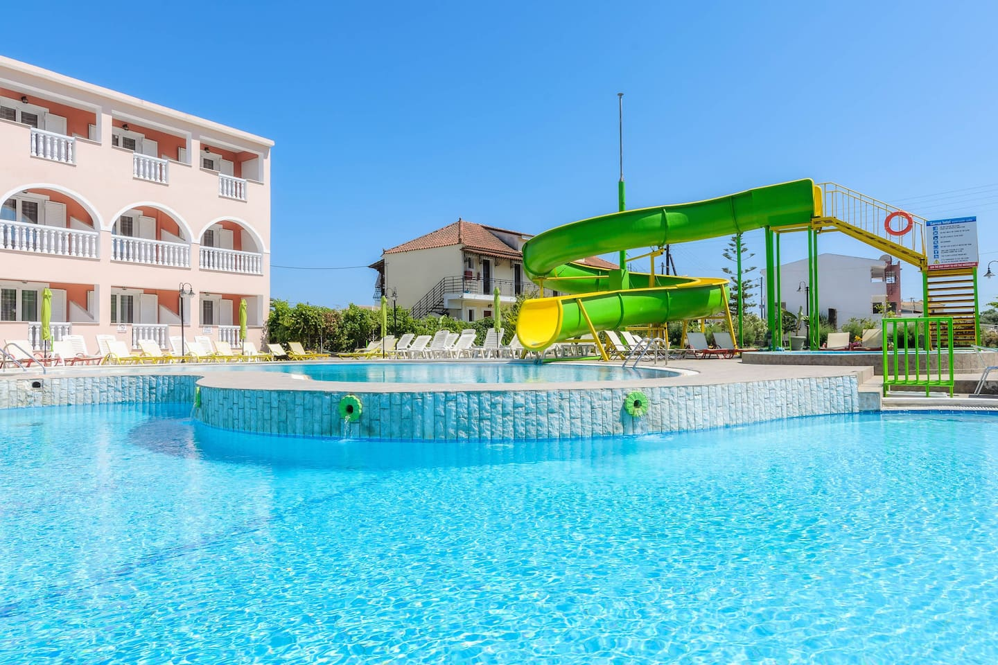 Waterslide and pool area