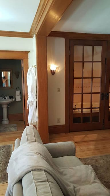 French doors to the double whirlpool tub.
