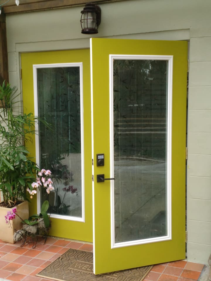 French door entrance with key pad lock.