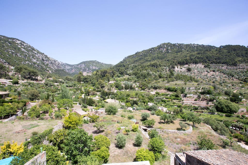 Stunning views of the surrounding village and Tramuntana mountain range from the property.