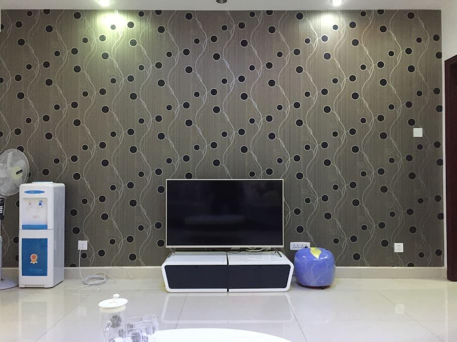 客厅(小米48寸超薄电视、亚克力鱼缸、1.8米书柜)