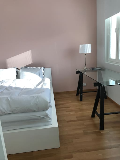 There is a 160cm wide double bed in the bedroom. The apartment is full of light and therefore every window has black-out curtains.