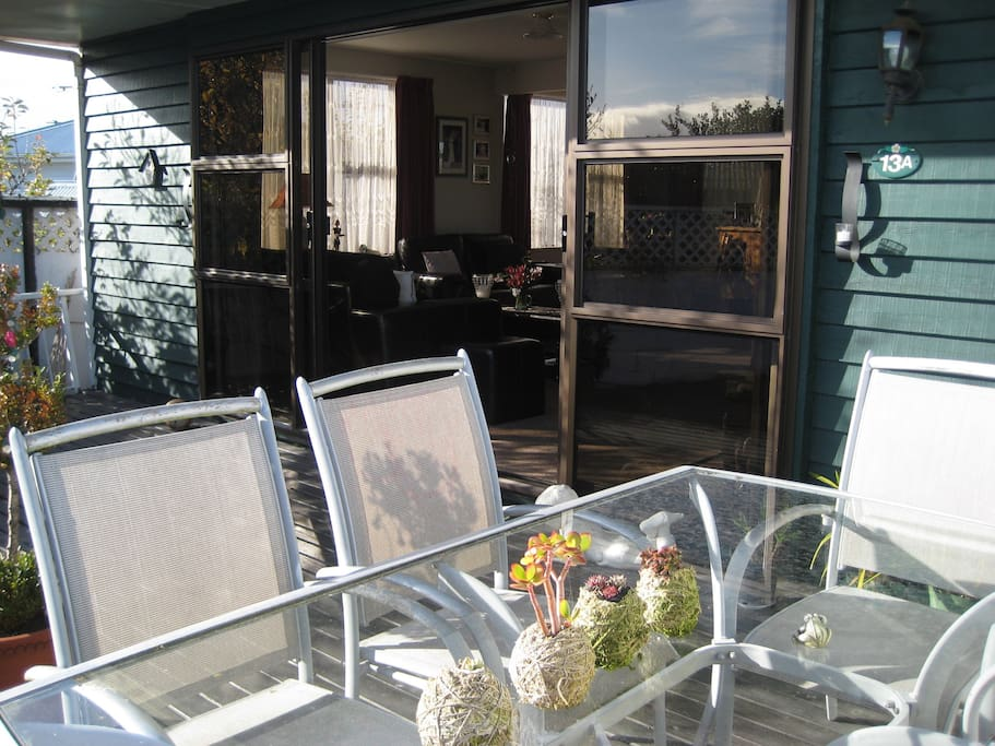 Sunny outdoor deck seating