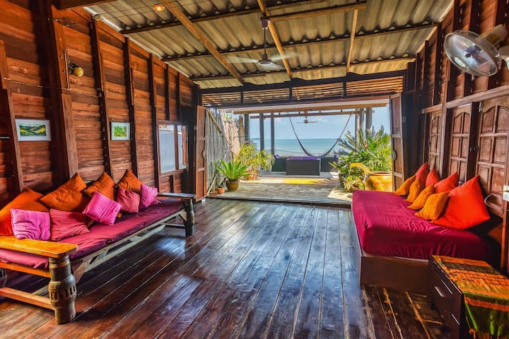 stunning views from inside the authentic hardwood Thai house ( can sleep two)