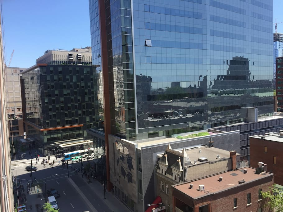 View from the balcony, 30 seconds from the metro station, located downtown!