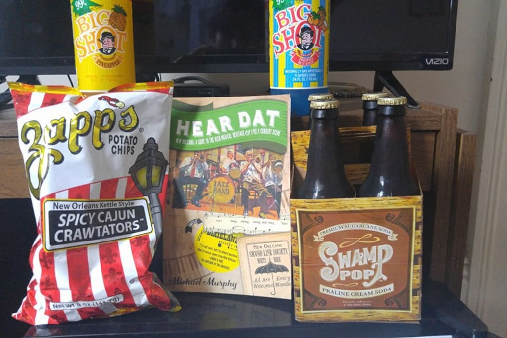 we always leave a few local snack favorites in the minifridge for you to enjoy.