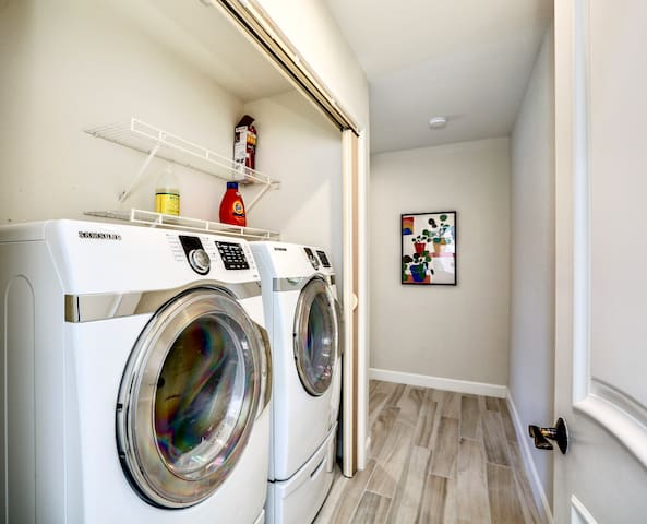 Pack lightly. Your home comes with a Samsung washer/dryer