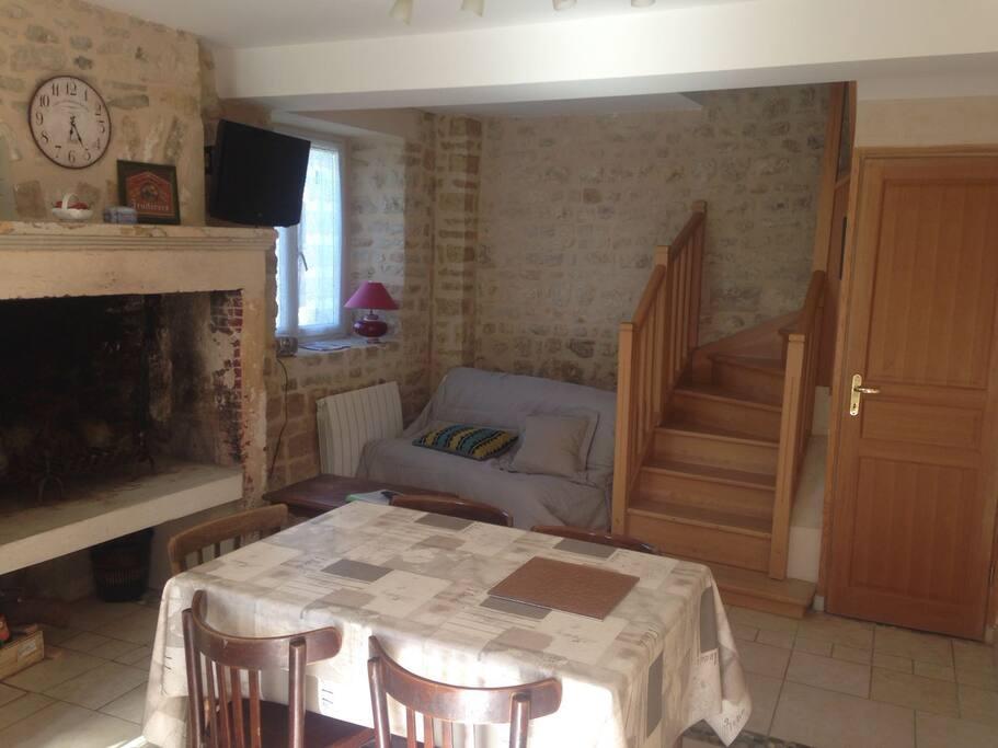 Salle de vie avec cheminée