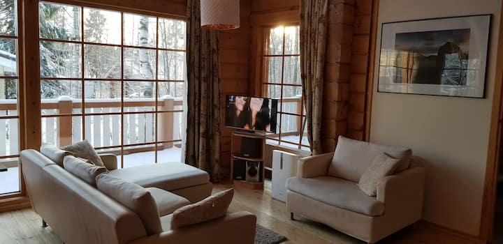 Финский  тёплый дом с сауной, камином и террасой