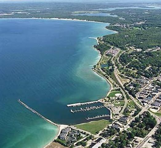 Aerial shot of downtown Petoskey and  the public harbor.