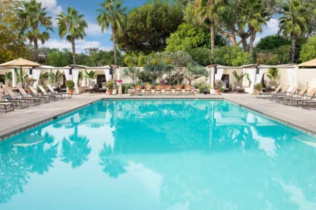 Heated pool, hot tub, and pool side cabanas
