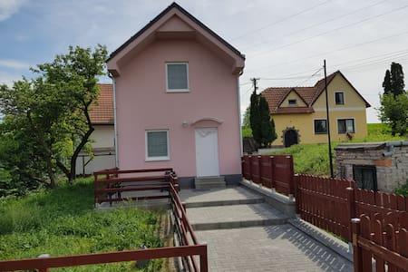 Růžový domek na kopci mezi vinnými sklípky