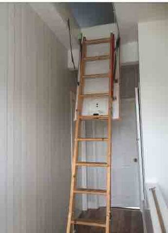 Please note these ladders are for access to the attic , access to the double room is on your left , but is accessible when ladders are down