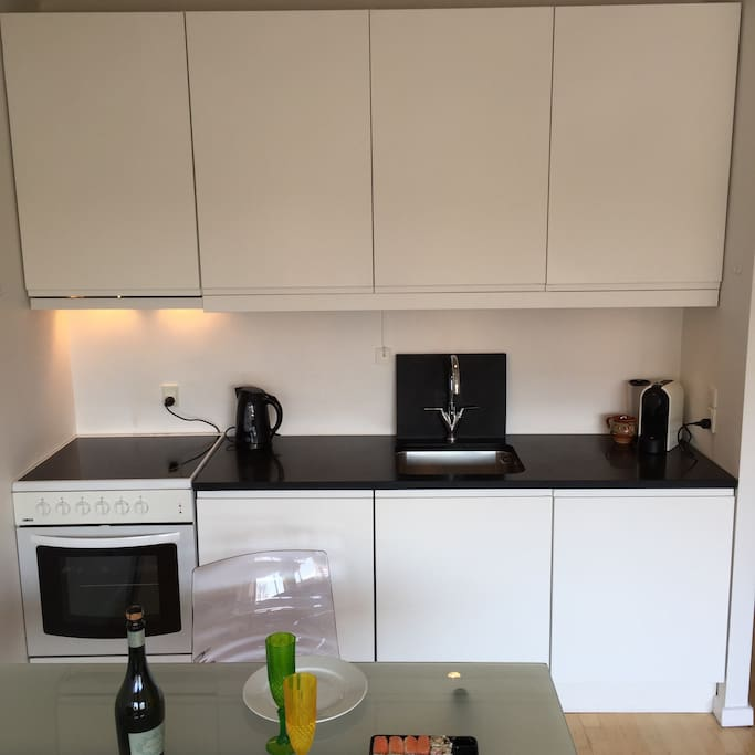 Kitchen with stove, microwave, refrigerator, electric cettle and Nespresso coffee maker