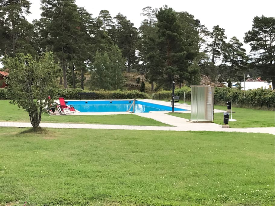 Communal pool, sun heated and free of charge, 500 meters walking distace