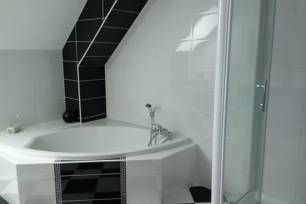 salle de bain (baignoire + cabine de douche