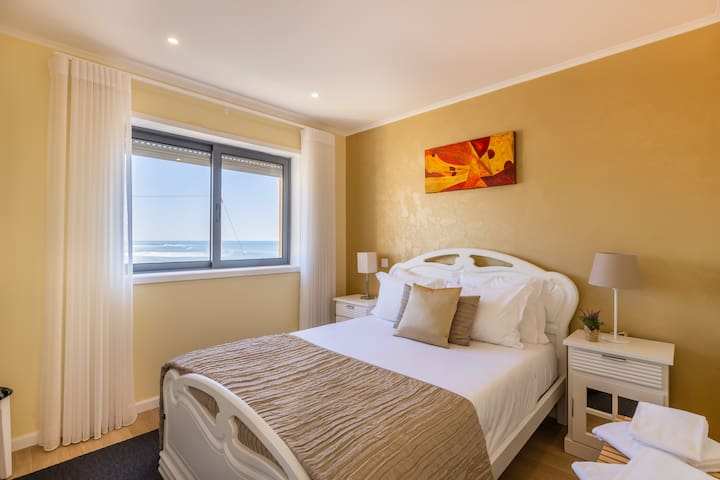 Bedroom 1 with Double-Bed and Sea View