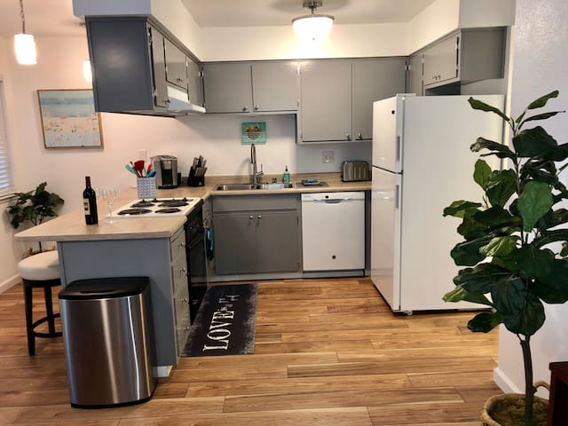 Renovated kitchen with new dishwasher