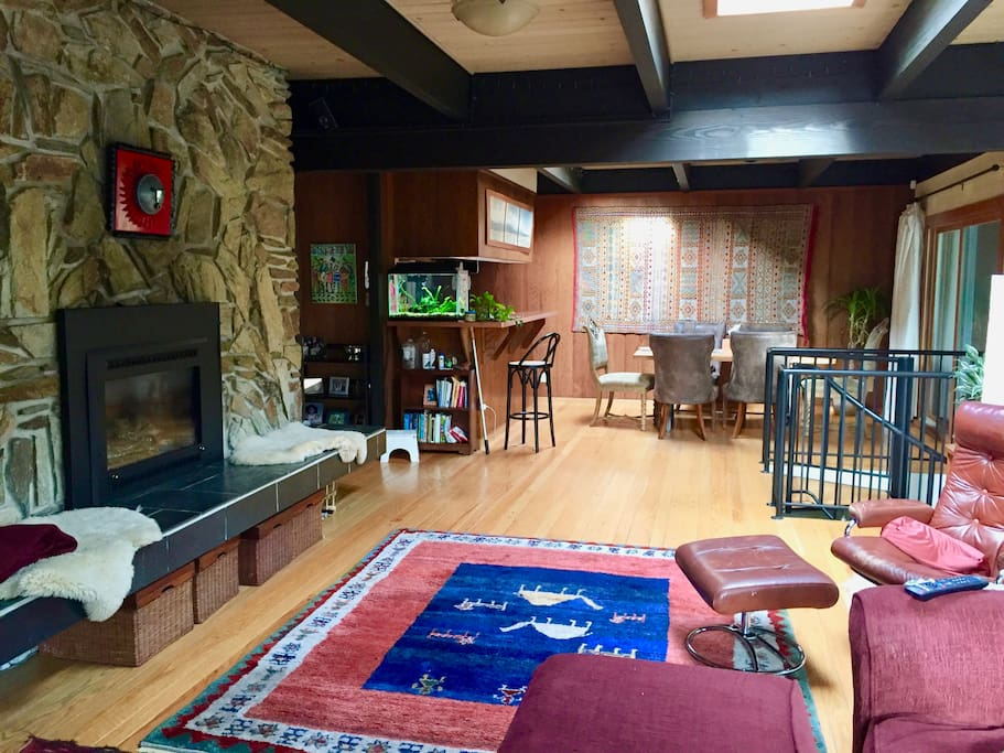 Dining area and gas fireplace