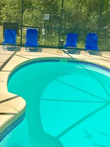 BEST PLACE TO GO AFTER THE SAUNA - Six Lounge chairs - Outdoor temp pool,  TOTALY private Swim suits are optional!