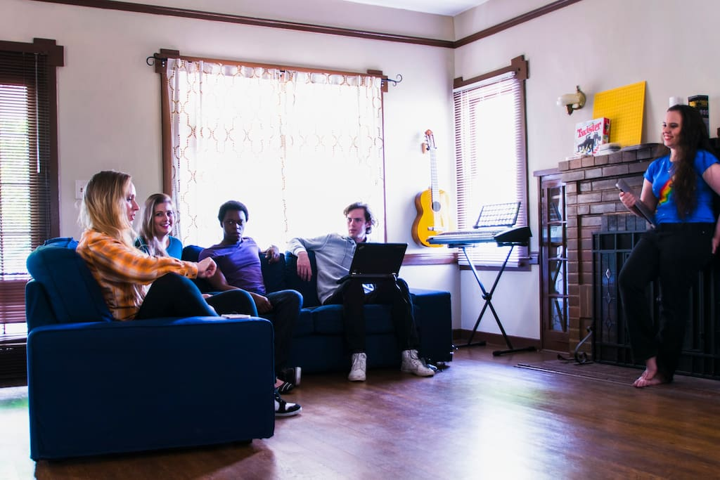 We use the main living often for movies and shows, but it is also a calm place to hang out and have a relaxed conversation. We also have musical instruments residents can borrow, since many residents find it difficult to travel with instruments but miss them.