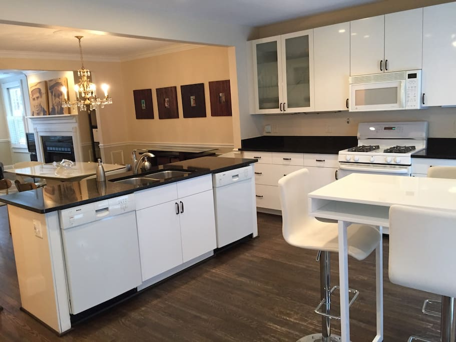 The kitchen is spacious and fully open to the living and dining room.