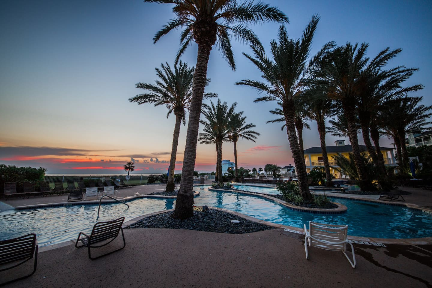 Sunset at Lazy River Pool