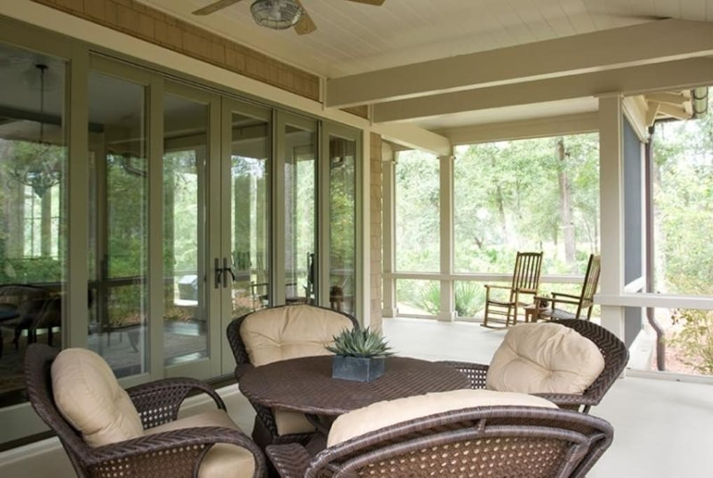 Back Porch Screened-in overlooking golf course