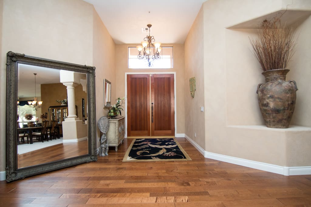 Great Large Foyer, Very High Double Front Doors & Very Large Elegant Mirrow
