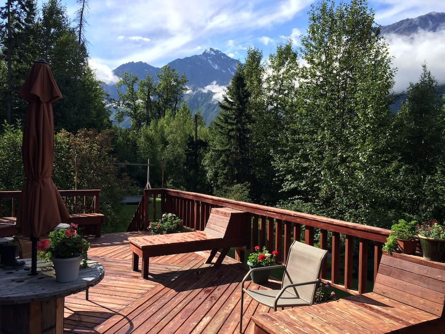 The inviting deck looking out over beautiful Eagle River valley