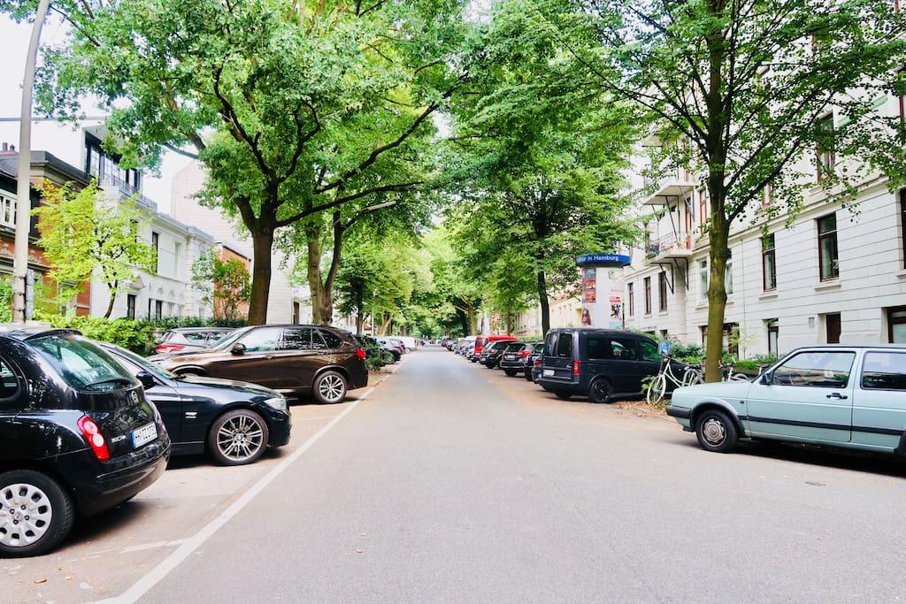 Ruhige Seitenstrasse, am Ende ist der Stadtpark