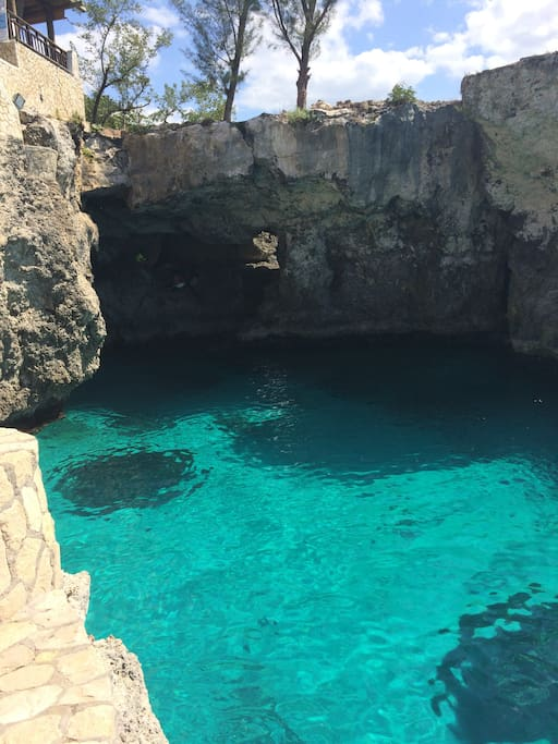 Cliff diving crystal clear waters. Stones throw from our residence.