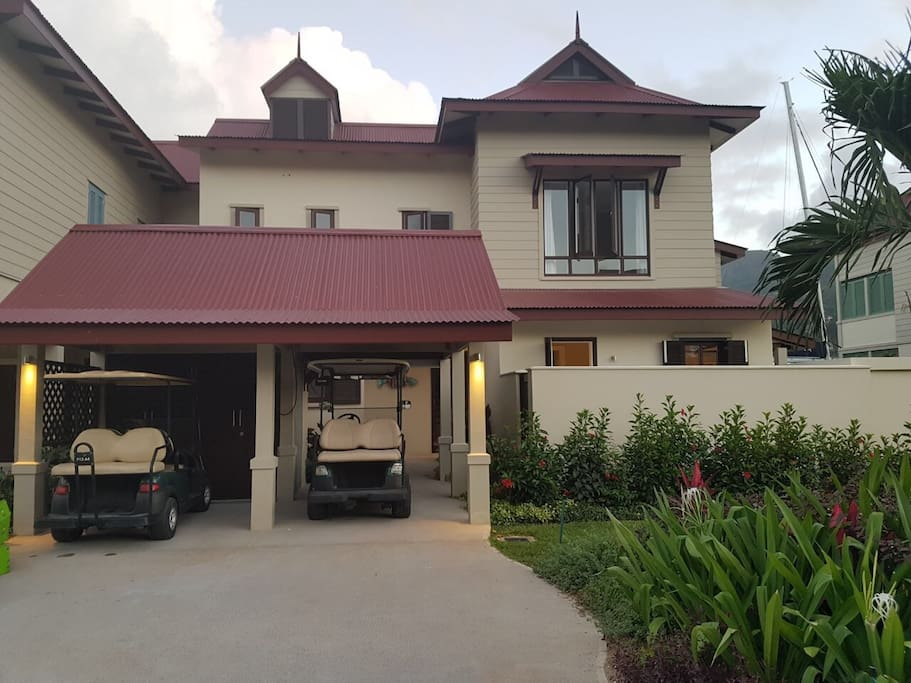 Entrance to Maison 246, with garage facilities and the added advantage of having the use of 2 x golf carts.