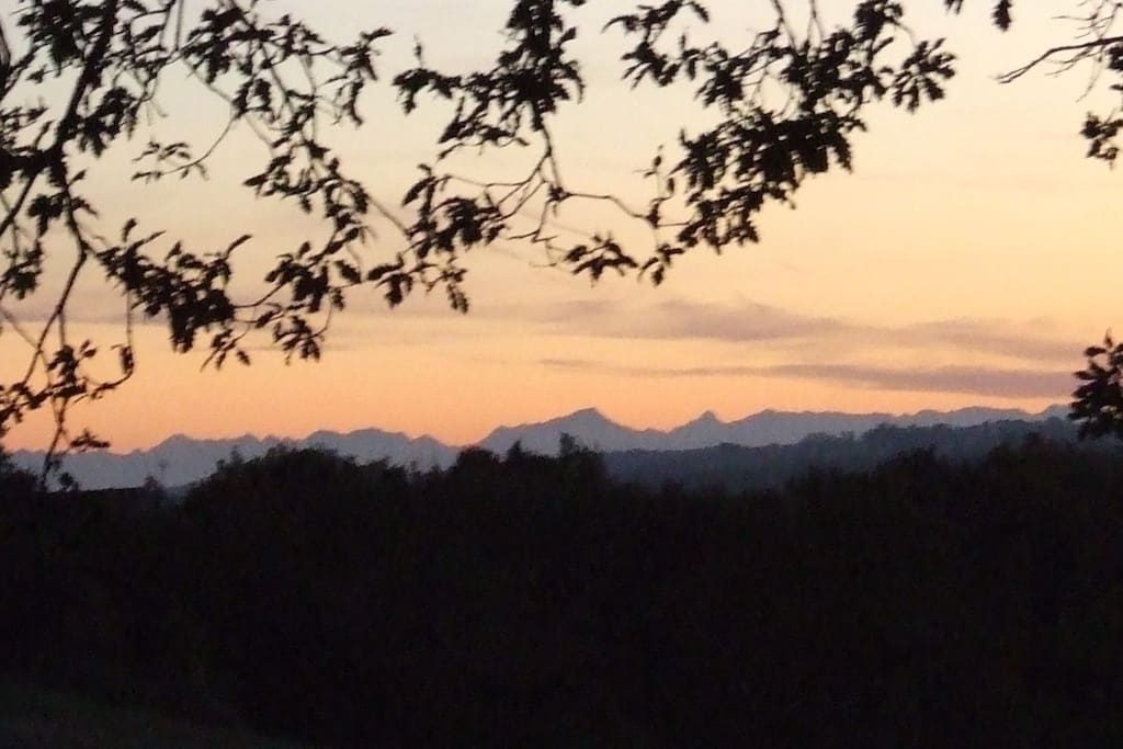 Sunset over the Pyrenees from the terrace