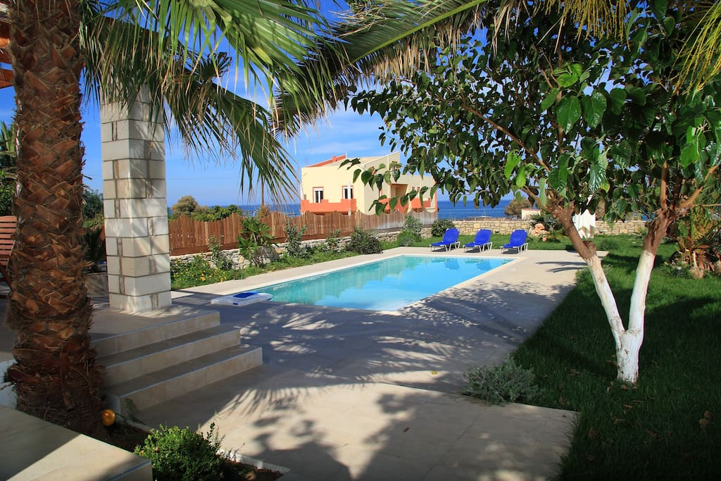 The exterior areas and the pool