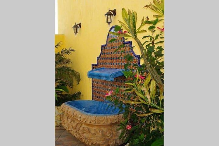 Fountain in entryway patio